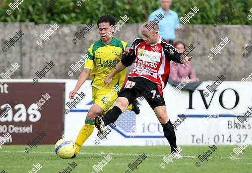 2010-08-08 / Seizoen 2010-2011 / Voetbal / Witgoor - Izegem / Duel tussen Dimitrios Morales van Witgoor en Lieven Cnudde van Izegem..Foto: mpics