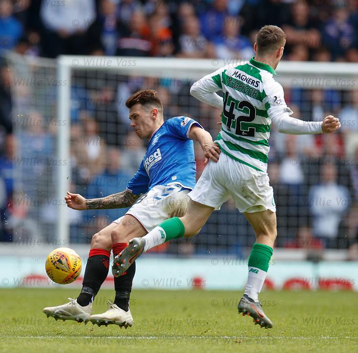 01.09.2019 Rangers v Celtic: Ryan Jack tackles Callum McGregor