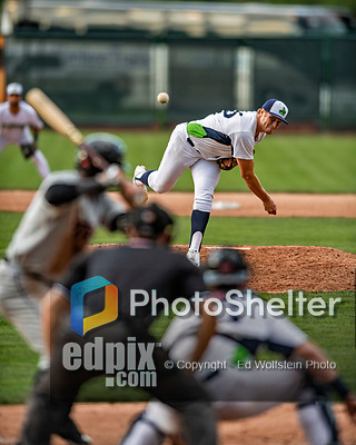 21 July 2019: Vermont Lake Monsters pitcher Colin Peluse on the mound against the Tri-City ValleyCats at Centennial Field in Burlington, Vermont. The Lake Monsters rallied to defeat the ValleyCats 6-3 in NY Penn League play. Mandatory Credit: Ed Wolfstein Photo *** RAW (NEF) Image File Available ***
