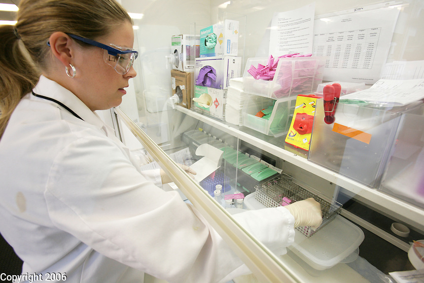 Lindsay Jones prepares tissue samples for pathologists at Fred Hutchinson Cancer Research Center to analyze. A transparent hood protects her from breathing the fumes of the formaldehyde-based solution she is using to preserve the tissue.