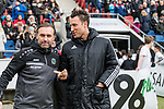 09.02.2019, HDI Arena, Hannover, GER, 1.FBL, Hannover 96 vs 1. FC Nuernberg<br /> <br /> DFL REGULATIONS PROHIBIT ANY USE OF PHOTOGRAPHS AS IMAGE SEQUENCES AND/OR QUASI-VIDEO.<br /> <br /> im Bild / picture shows<br /> Thomas Doll (Trainer Hannover 96), Sven Jablonski (4. Offizieller Schiedsrichter / 4th referee), <br /> <br /> Foto &copy; nordphoto / Ewert