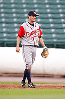 June 3, 2009:  First Baseman Wes Timmons of the Gwinnett Braves in the field during a game at Frontier Field in Rochester, NY.  The Gwinnett Braves are the International League Triple-A affiliate of the Atlanta Braves.  Photo by:  Mike Janes/Four Seam Images