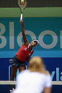 Washington, DC - July 14, 2015: Venus Williams, playing for the Washington Kastles, serves to Nicole Gibbs of the Austin Aces during week 3 of the World Team Tennis 2015 season, July 14, 2015, at the Kastles' Stadium in the District of Columbia. The Austin Aces won 22-17 over the Kastles. Williams is currently ranked 15th in the world. (Photo by Don Baxter/Media Images International)