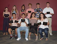RICK PECK/SPECIAL TO MCDONALD COUNTY PRESS<br /> Boys' and Girls Track Awards - Front row, left to right: Huechi Xiong (Mustang Pride Award and Four-Year Commitment), Saul Garcia (Four-Year Commitment), Ruby Palomo (Top Sprinter/Hurdler and Four-Year Commitment) and Emily Landers (Top Thrower and Four-Year Commitment). Back row: Ragan Wilson (Top Distance), Haley Mick (Newcomer Award), Sosha Howard (High Point), Garrett Spears (Top Distance), Joel Morris (Top Sprinter/Hurdler) and Garrett Gricks (Newcomer Award). Not present: Corbin Jones (High Point and Top Jumper), Elliott Wolfe (Top Thrower and Four-Year Commitment), Zack Woods (Four-Year Commitment), Bryce Berryhill (Four-Year Commitment), Ricky Salas (Most Improved), Caitlyn Barton (Top Jumper), Adyson Sanny (Mustang Pride Award) and Mariana Salas (Most Improved).