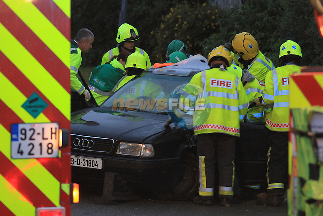 Drogheda fire service responded to a single vehicle RTC on the newfoundwell road shortly after 4.30 am on Saturday Morning. Three occupants had to be removed from the vehicle by the fire service using cutting equipment, and were transfered to Our Lady of Lourdes Hospital..Picture Fran Caffrey/www.newsfile.ie