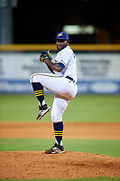 Montgomery Biscuits relief pitcher Diego Castillo (9) delivers a pitch during a game against the Mississippi Braves on April 26, 2017 at Montgomery Riverwalk Stadium in Montgomery, Alabama.  Montgomery defeated Mississippi 5-2.  (Mike Janes/Four Seam Images)