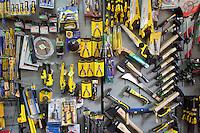 Tool display in a Polish hardware store. Rzeczyca Central Poland