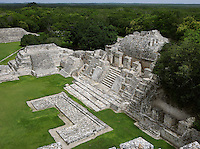Northwest Temple, Great Acropolis, Puuc architectural style, Late Classic Period, 600 - 900 AD, Edzna, Campeche, Mexico. Picture by Manuel Cohen