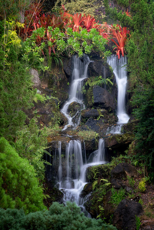 Waterfall at Na Aina Kai Botanical Gardens, Kauai, Hawaii
