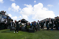 Yani Tseng plays a shot from the Love Golf lounge. McKayson NZ Women's Golf Open, Round Three, Windross Farm Golf Course, Manukau, Auckland, New Zealand, Saturday 30 September 2017.  Photo: Simon Watts/www.bwmedia.co.nz
