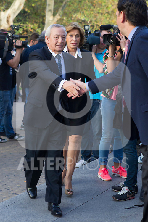 Carlos Solchaga visits San Isidro funeral home following the death of Miguel Boyer in Madrid, Spain. September 29, 2014. (ALTERPHOTOS/Victor Blanco)