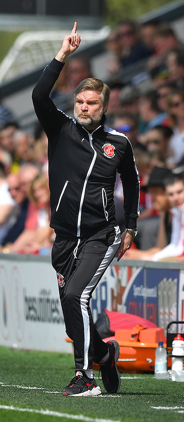 Fleetwood Town's Manager Steven Pressley shouts instructions to his team from the dug-out<br /> <br /> Photographer Dave Howarth/CameraSport<br /> <br /> Football - The Football League Sky Bet League One - Fleetwood Town v Crewe Alexandra - Sunday 8th May 2016 - Highbury Stadium - Fleetwood    <br /> <br /> &copy; CameraSport - 43 Linden Ave. Countesthorpe. Leicester. England. LE8 5PG - Tel: +44 (0) 116 277 4147 - admin@camerasport.com - www.camerasport.com