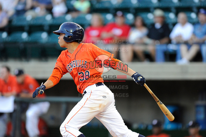 Second baseman Kristian Trompiz (38) of the Greeneville Astros bats in a game against the Bristol Pirates on Friday, July 25, 2014, at Pioneer Park in Greeneville, Tennessee. Greeneville won, 9-4. (Tom Priddy/Four Seam Images)