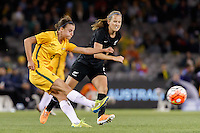 June 7, 2016: CHLOE LOGARZO (6) of Australia kicks the ball during an international friendly match between the Australian Matildas and the New Zealand Football Ferns as part of the teams' preparation for the Rio Olympic Games at Etihad Stadium, Melbourne. Photo Sydney Low