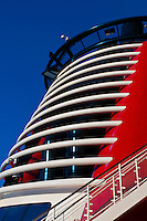 Art deco smoke stack, Disney Dream cruise ship, Nassau, The Bahamas.