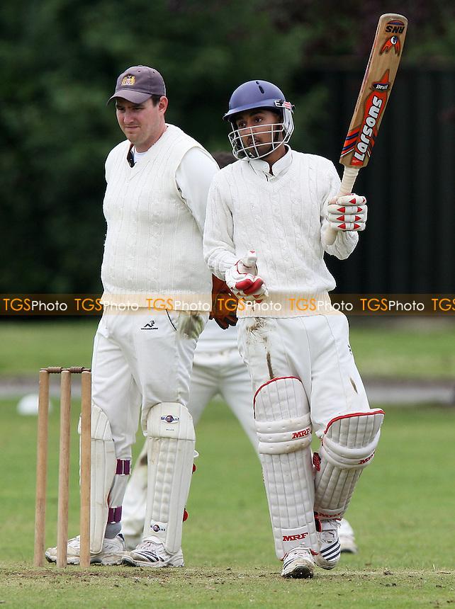 S Ubhi of Leyton raises his bat to acknowledge 50 runs - Hornchurch Athletic CC vs Leyton County CC - Lords International Cricket League at Hylands Park - 12/07/08 - MANDATORY CREDIT: Gavin Ellis/TGSPHOTO - Self billing applies where appropriate - Tel: 0845 094 6026.