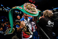 "NEW YORK, NY - MARCH 04: Trainer Chris Getty, holds the newly attained WBC Belt, after Undefeated WBA and WBC Welterweight Champion Keith ""One Time"" Thurman wins the split decision over Danny ""Swift"" Garcia at Barclays Center on  March 4, 2017 in the borough of Brooklyn, New York City.. (Photo by Douglas DeFelice/Eclipse Sportswire/Getty Images)"