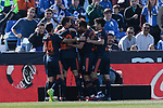 Valencia CF' players celebrate goal during La Liga match, Round 25 between CD Leganes and Valencia CF at Butarque Stadium in Leganes, Spain. February 24, 2019. (ALTERPHOTOS/A. Perez Meca)