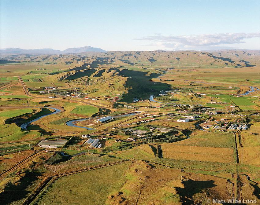 Flúðir, loftmynd til norðurs. Hrunamannahreppur. / Fludir, aerial view to north
