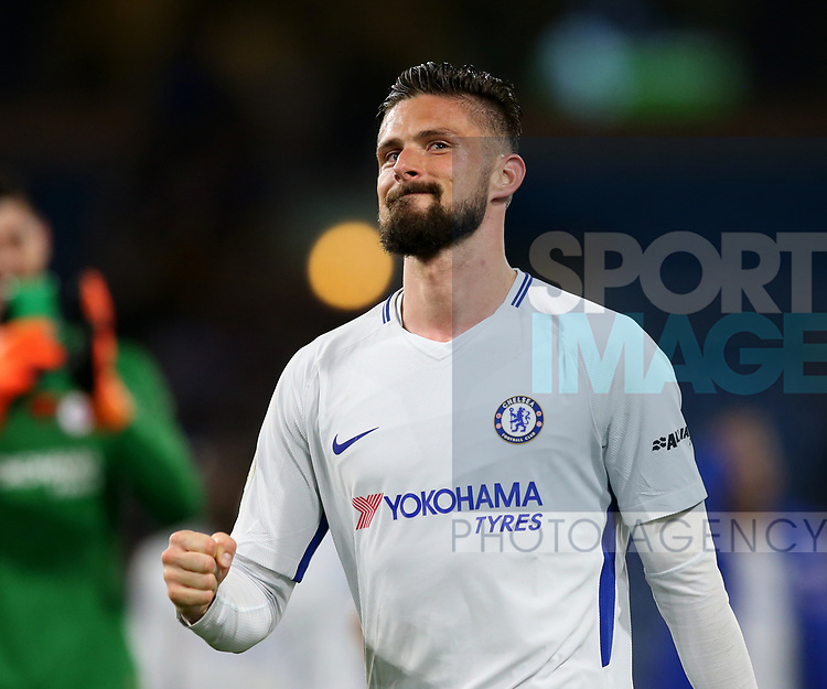 Olivier Giroud of Chelsea celebrates the win during the premier league match at the Turf Moor Stadium, Burnley. Picture date 19th April 2018. Picture credit should read: Simon Bellis/Sportimage