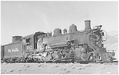 K-37 #492 with stock cars getting loaded at stock pens.<br /> D&amp;RGW  Villa Grove, CO  Taken by Richardson, Robert W. - 11/4/1949