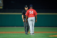 Pawtucket Red Sox manager Billy McMillon (51) argues a call with umpire Dan Merzel during an International League game against the Rochester Red Wings on June 28, 2019 at Frontier Field in Rochester, New York.  Pawtucket defeated Rochester 8-5.  (Mike Janes/Four Seam Images)