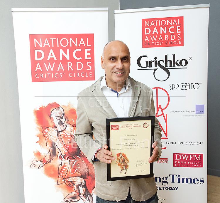 The Critics' Circle National Dance Awards 2016 <br /> at the Lilian Baylis Studio, Sadler's Wells, London, Great Britain <br /> <br /> 6th February 2017 <br /> <br /> Akram Khan Company  <br /> <br /> Photograph by Elliott Franks <br /> Image licensed to Elliott Franks Photography Services