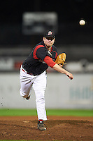 Batavia Muckdogs pitcher Curt Britt (37) delivers a pitch during a game against the Williamsport Crosscutters on August 28, 2015 at Dwyer Stadium in Batavia, New York.  Batavia defeated Williamsport 6-0.  (Mike Janes/Four Seam Images)