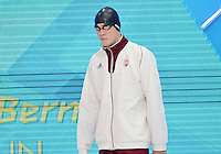 August 01, 2012..Peter Bernek arrives to compete in Men's 200m Backstroke Semifinal at the Aquatics Center on day five of 2012 Olympic Games in London, United Kingdom.