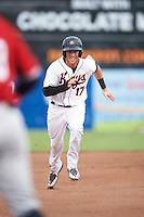 Frederick Keys second baseman Stephen Wilkerson (17) running the bases during a game against the Carolina Mudcats on June 4, 2016 at Nymeo Field at Harry Grove Stadium in Frederick, Maryland.  Frederick defeated Carolina 5-4 in eleven innings.  (Mike Janes/Four Seam Images)
