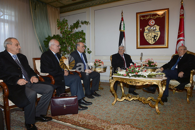 Tunisia's President Beji Caid Essebsi (R) meets with his Palestinian counterpart Mahmoud Abbas, in Tunis January 22, 2015. Photo by Thaer Ganaim