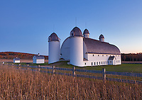 Sleeping Bear Dunes National Lakeshore, Michigan: Historic landmark dairy barn on the  D. H. Day Farm near Glen Haven at dusk