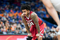 NWA Democrat-Gazette/CHARLIE KAIJO Arkansas Razorbacks guard Anton Beard (31) reacts before shooting a free throw during the Southeastern Conference Men's Basketball Tournament semifinals, Saturday, March 10, 2018 at Scottrade Center in St. Louis, Mo. The Tennessee Volunteers knocked off the Arkansas Razorbacks 84-66