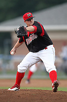 Batavia Muckdogs pitcher Nick McCully (13) during a game vs. the Mahoning Valley Scrappers at Dwyer Stadium in Batavia, New York August 2, 2010.  Batavia defeated Mahoning Valley 6-3 in 10 innings.  Photo By Mike Janes/Four Seam Images