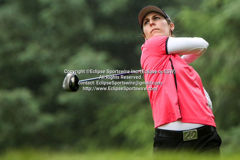 American Jennifer Johnson tees off on the sixth tee at the LPGA Championship at Locust Hill Country Club in Pittsford, NY on June 7, 2013