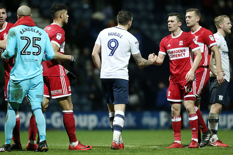 Preston North End's Jordan Hugill congratulates Middlesbrough's Jonathan Howson at the final whistle<br /> <br /> Photographer Rich Linley/CameraSport<br /> <br /> The EFL Sky Bet Championship - Preston North End v Middlesbrough - Monday 1st January 2018 - Deepdale Stadium - Preston<br /> <br /> World Copyright &copy; 2018 CameraSport. All rights reserved. 43 Linden Ave. Countesthorpe. Leicester. England. LE8 5PG - Tel: +44 (0) 116 277 4147 - admin@camerasport.com - www.camerasport.com