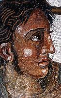 Greek Art:  Alexander at Isso--mosaic.  Detail--head of Alexander.  Photo 2006.