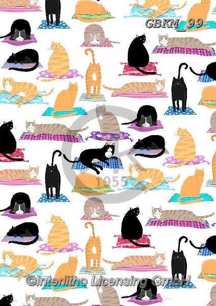 Kate, GIFT WRAPS, GESCHENKPAPIER, PAPEL DE REGALO, paintings+++++Cats on mats,GBKM99,#gp#, EVERYDAY ,cat,cats
