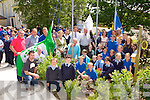 Kerry footballers Eoin Brosnan and Marc O'Sé as well as Weeshie Fogarty and local sports stars Siobhain Fleming, John Teahan, Liam Brosnan, Cieran Scanlon and Ted Clifford raised the Green Flag, Sports Active Flag and the Young Entrepreneur flags at Currow NS on Wednesday morning
