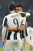 Calcio, semifinale di andata di Tim Cup: Juventus vs Napoli. Torino, Juventus Stadium, 28 febbraio 2017.<br /> Juventus&rsquo; Paulo Dybala, right, celebrates with his teammate Gonzalo Higuain after scoring his second goal on a penalty kick during the Italian Cup semifinal first leg football match between Juventus and Napoli at Turin's Juventus stadium, 28 February 2017.<br /> UPDATE IMAGES PRESS/Manuela Viganti