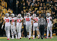 Ohio State Buckeyes defensive lineman Dre'Mont Jones (86) reacts after another penalty call where he was off sides in the second half of their game at Kinnick Stadium in Davenport, IA on November 4, 2017. [ Brooke LaValley / Dispatch ]
