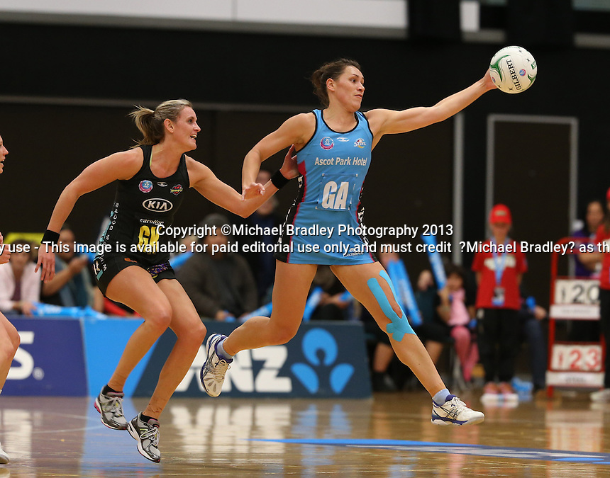 02.06.2013 Magic's Leana de Bruin and Steel's Jodi Brown in action during the ANZ Champs netball match between the Magic and Steel played at Rotorua Events Centre in Rotorua. Mandatory Photo Credit ©Michael Bradley.