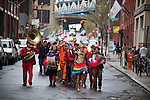 BROOKLYN -- APRIL 16, 2011: Jessi Arrington (C) leads other Studiomates and friends in their rainbow parade on April 16, 2011 in Dumbo, Brooklyn.   (PHOTOGRAPH BY MICHAEL NAGLE)