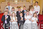 Children from Kilmoyley NS pictured at their First Holy Communion on Saturday at The Church of the Sacred Heart, Kilmoyley. Front Row l/r Kian Regan, Ciara Casey, Liam Flaherty, Aoife Godley and Bri?d Horan. Middle Row l/r Emma Curran, Marie McCarthy, Evan Griffin, David Godley and Saoirse Sheehy. Back Row l/r Fr. Liam Lovell and Miss Eili?n Loibhe?ad................................................................................................................................................................................................................................................................................................................... ............