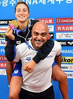 QUADARELLA Simona ITA Italy Gold Medal , Christian Minotti coach <br /> Women's 1500m Freestyle <br /> Gwangju South Korea 23/07/2019<br /> Swimming <br /> 18th FINA World Aquatics Championships<br /> Nambu University Aquatics Center <br /> Photo © Andrea Staccioli / Deepbluemedia / Insidefoto
