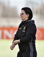 20180326 - ZALTBOMMEL , THE NETHERLANDS : Belgian coach Tamara Cassimon pictured during the UEFA Women Under 17 Elite round game between Belgium WU17 and Romania WU17, on the second matchday in group 1 of the Uefa Women Under 17 elite round in The Netherlands , monday 26 th March 2018 . PHOTO SPORTPIX.BE    DIRK VUYLSTEKE