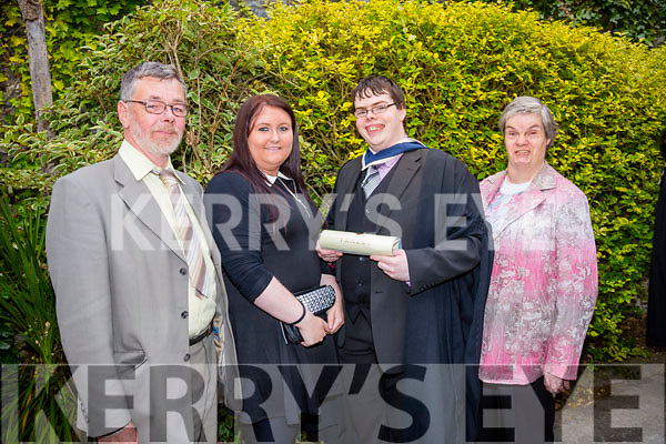 At the ITT Conferring Ceremony in the Brandon Hotel on Thursday were l-r  Brendan Lynch, Louise O'Malley, Martin Lynch, BA in TV, Radio and New Media Broadcasting and Eileen Lynch