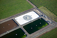 aerial photograph of a winery wastewater treatment plant in Napa Valley, California