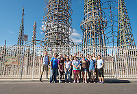Incoming first-years participate in Oxy Engage with a visit to the Watts Towers in Los Angeles on Aug. 20, 2014, just one of the stops as part of the Social Justice group. (Photo by Marc Campos, Occidental College Photographer)