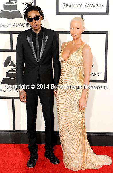 Pictured: Wiz Khalifa, Amber Rose<br /> Mandatory Credit &copy; Adhemar Sburlati/Broadimage<br /> The Grammy Awards  2014 - Arrivals<br /> <br /> 1/26/14, Los Angeles, California, United States of America<br /> <br /> Broadimage Newswire<br /> Los Angeles 1+  (310) 301-1027<br /> New York      1+  (646) 827-9134<br /> sales@broadimage.com<br /> http://www.broadimage.com